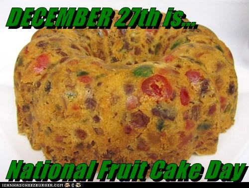 DECEMBER 27th is...  National Fruit Cake Day