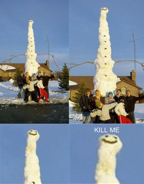Grotesque Snowman Begs for Death