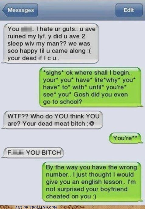 grammar issues,wrong number,school,texts,sms