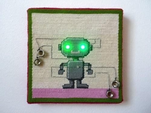 needlepoint,lights,robot,LED,DIY,craft