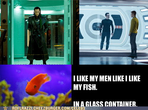 benedict cumberbatch,loki,Captain Kirk,men,tom hiddleston,The Avengers,glass,fish,i like mine,prison,star trek into darkness,chris pine