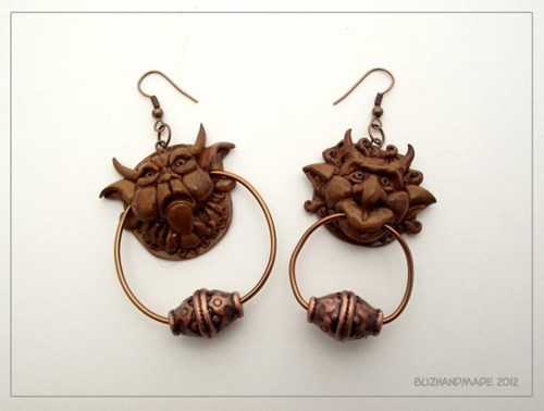 hand made,Jewelry,earrings,jim henson,labyrinth,door knockers