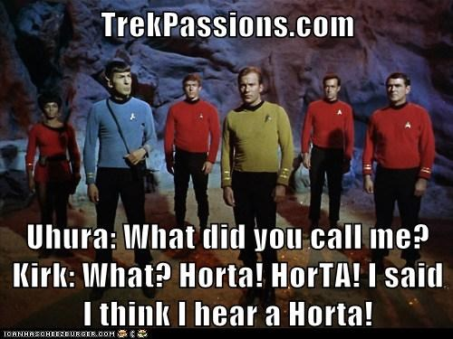 TrekPassions.com  Uhura: What did you call me? Kirk: What? Horta! HorTA! I said I think I hear a Horta!