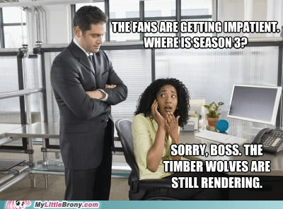 season 3,timberwolves,hurry up,cgi