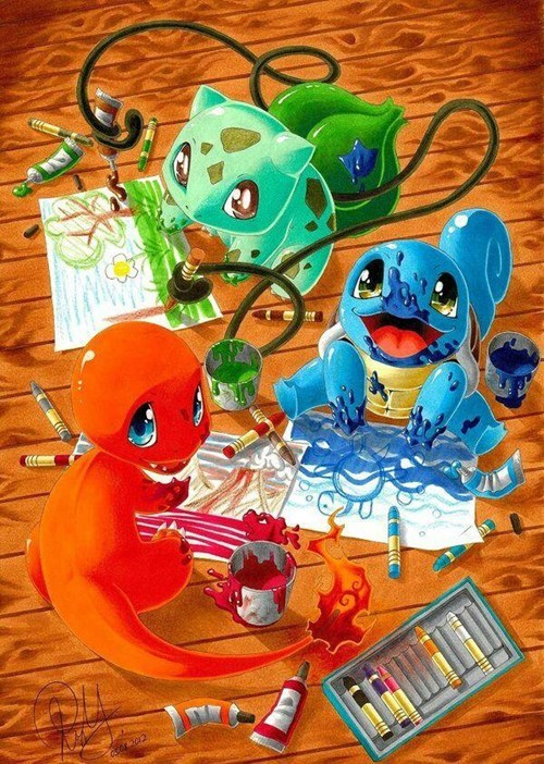 art,starters,cute,gen 1