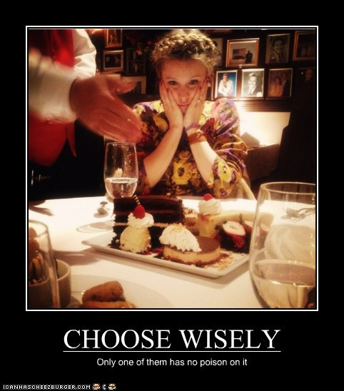 choose wisely,poison,kristen bell,food