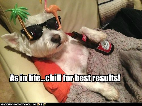 As in life...chill for best results!