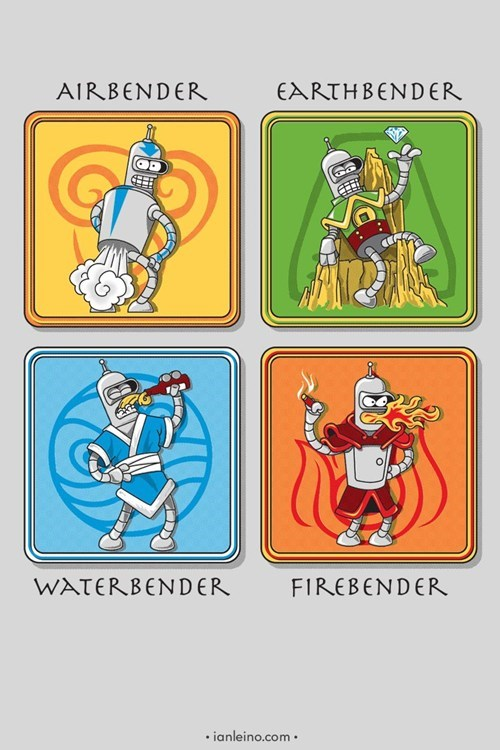 crossover,bender,Avatar the Last Airbender,cartoons,futurama