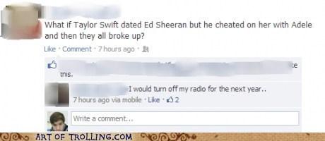 radio,taylor swift,adele,facebook,Ed Sheeran