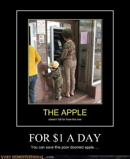 one dollar,kid,unfortunate,old lady