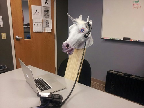 unicorn,creepy,on the phone,horse head,monday thru friday,g rated