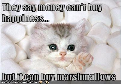 They say money can't buy happiness...  but it can buy marshmallows