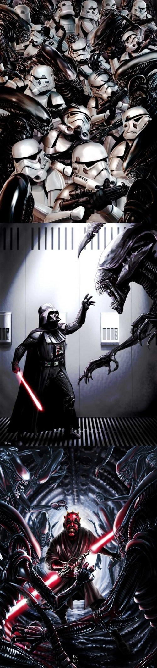 darth maul,Aliens,star wars,alien queen,fan art,stormtrooper,darth vader,xenomorphs
