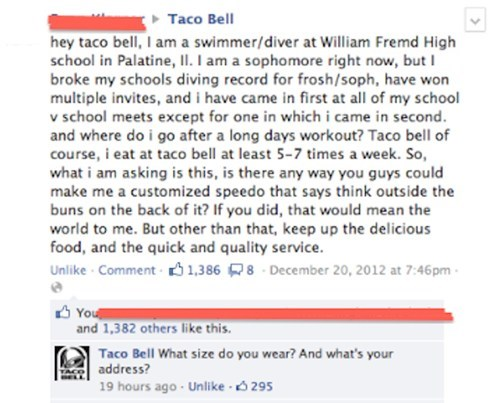 taco bell,facebook,speedo