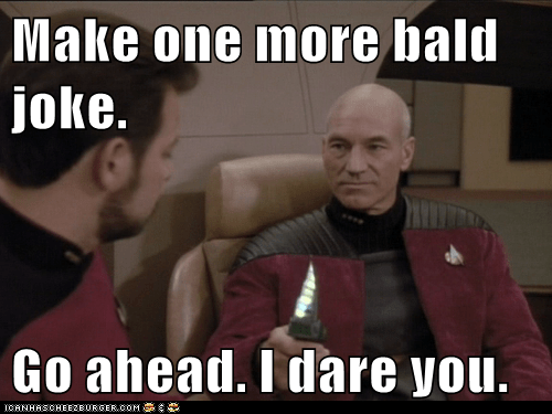annoyed,jokes,i dare you,william riker,Captain Picard,knife,Jonathan Frakes,Star Trek,patrick stewart