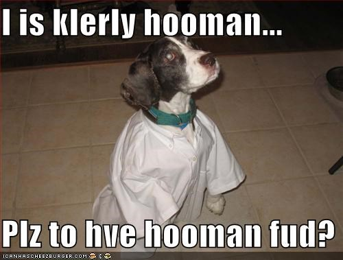 I is klerly hooman...  Plz to hve hooman fud?