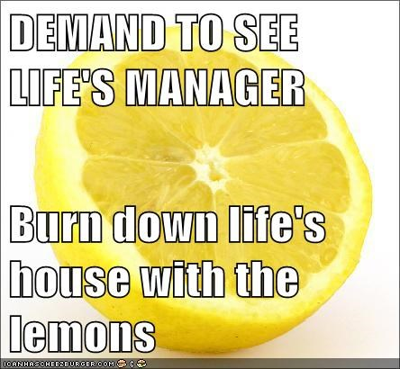 DEMAND TO SEE LIFE'S MANAGER  Burn down life's house with the lemons