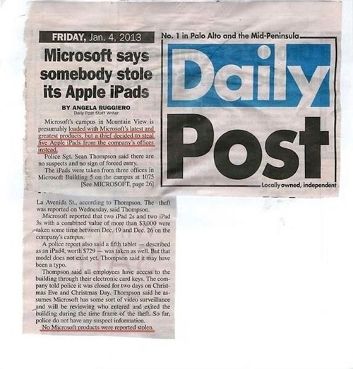 iPads stolen at Microsoft