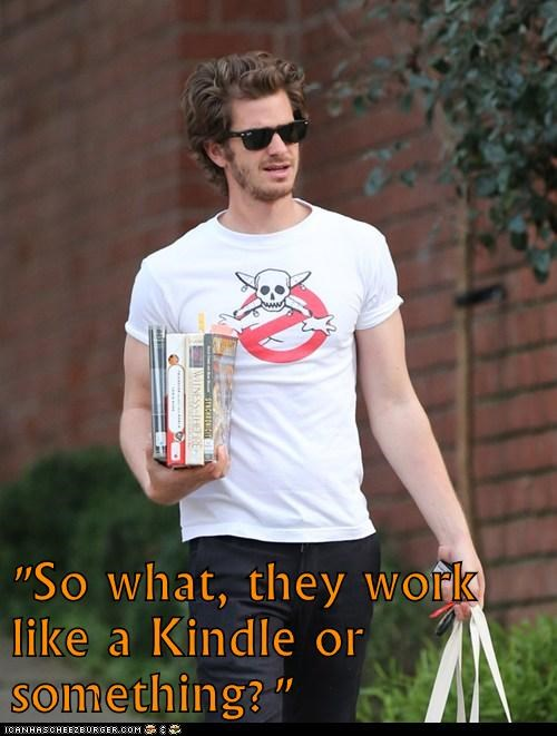andrew garfield,kindle,books,confused,stupid