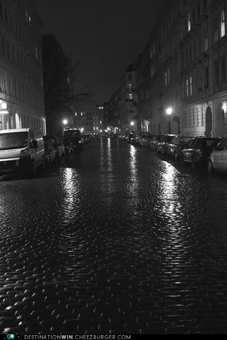 The Rain-Slicked Streets of Arndt Strasse, Berlin, Germany