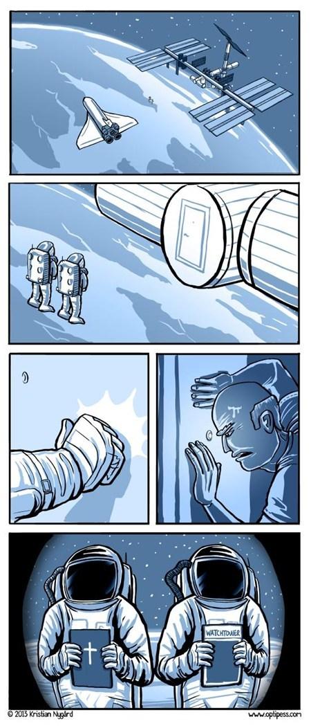 religion,watchtower,space station,door to door