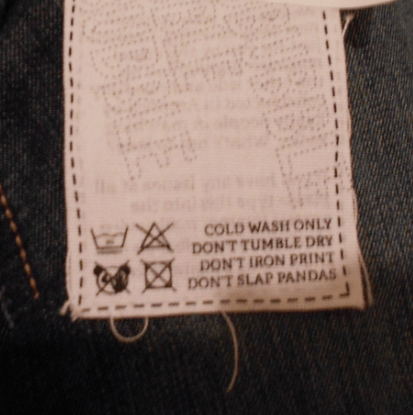 Instructions for the Washing of Pants