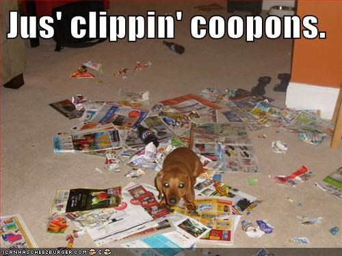 Jus' clippin' coopons.