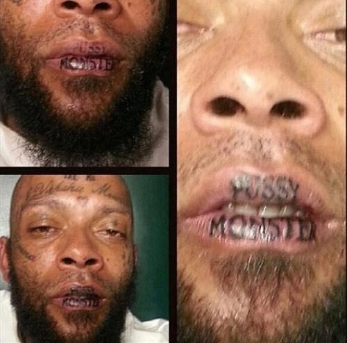 lip tattoos,ladies man,monster