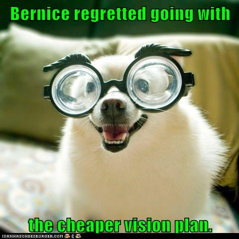 Bernice regretted going with  the cheaper vision plan.