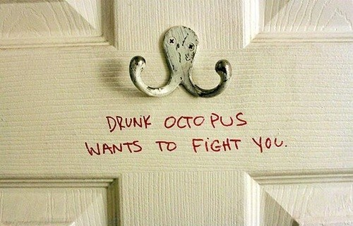 coat hanger,octopus,fighting