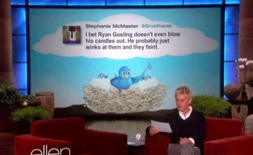 twitter,TV,ellen,Ryan Gosling,tweet,ellen degeneres,funny