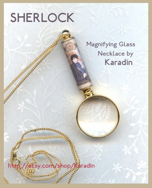 necklace,magnifying glass,pendant,Sherlock,chain