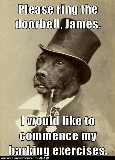 Please ring the doorbell, James.  I would like to commence my barking exercises.