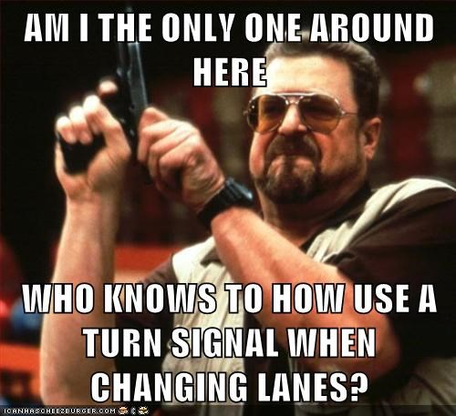 AM I THE ONLY ONE AROUND HERE  WHO KNOWS TO HOW USE A TURN SIGNAL WHEN CHANGING LANES?