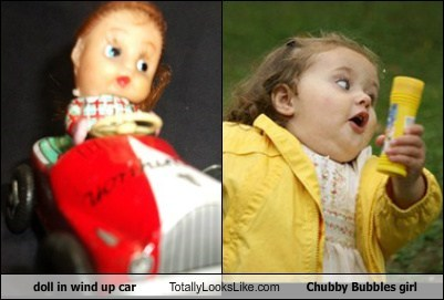 Doll in Wind Up Car Totally Looks Like Chubby Bubbles girl