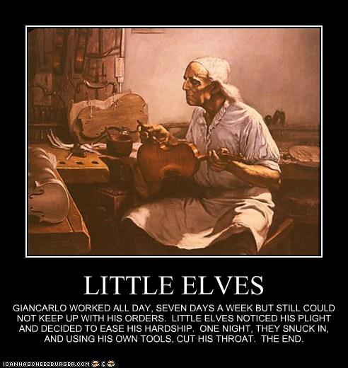 murder,killers,violin maker,mercy killing,elves