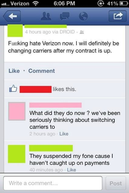 paying bills,verizon,reasonable standards