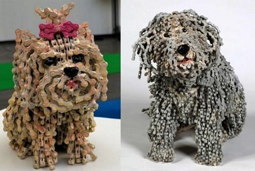 Dog Sculptures made from Bike Chains