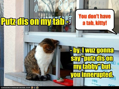 Yer tabby called. She said don't charge nuffin else to her account, ya schlub!