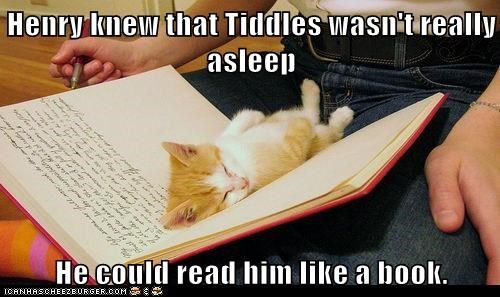 Henry knew that Tiddles wasn't really asleep  He could read him like a book.