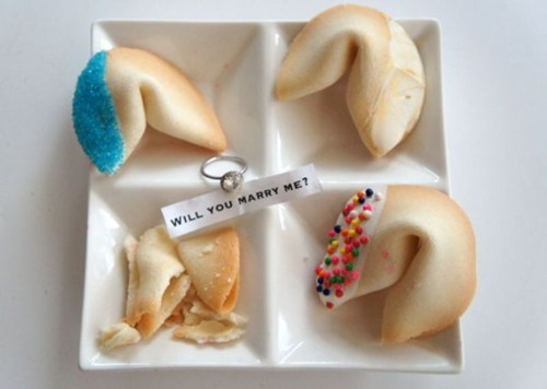 proposal,surprise,ring,cookies,fortune cookies