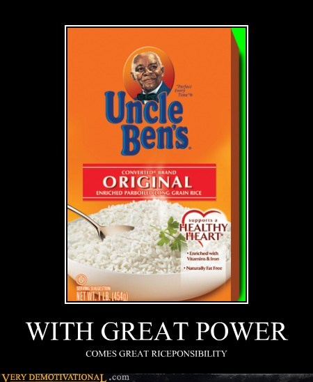 Spider-Man,Uncle Ben,food,rice