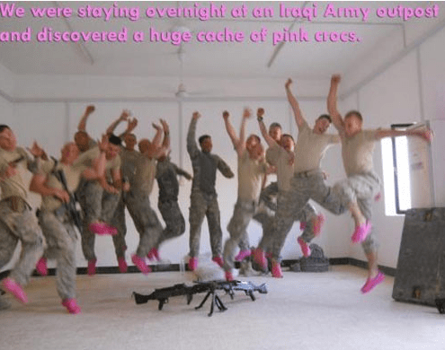 goofing off,crocs,army,g rated,win