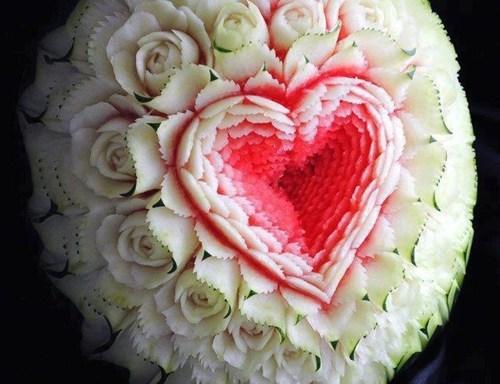 heart,design,watermelon,carving,fruit
