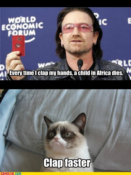 africa,low,clap,bono,Grumpy Cat