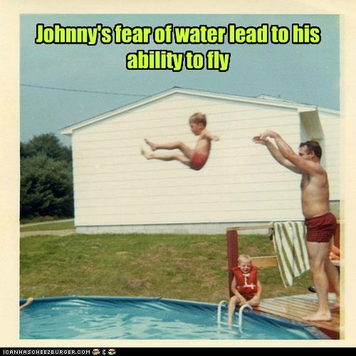 Johnny's fear of water lead to his ability to fly