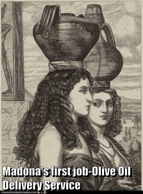 jug,head,balance,material girl,Madonna