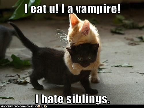 I eat u! I a vampire!  I hate siblings.