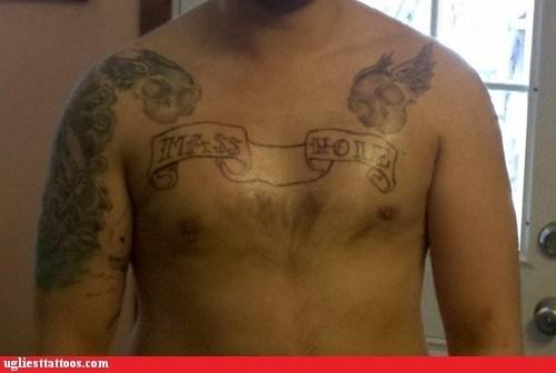 banner,skulls,chest tattoos
