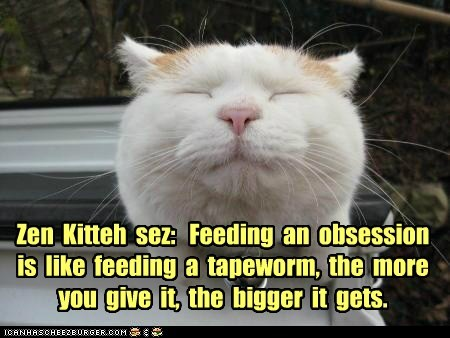Zen  Kitteh  sez:   Feeding  an  obsession  is  like  feeding  a  tapeworm,  the  more  you  give  it,  the  bigger  it  gets.